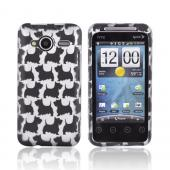 HTC EVO Shift 4G Rubberized Hard Case - Black Schnauzer Dogs on Silver