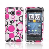 HTC EVO Shift 4G Rubberized Hard Case - Pink/Black Dots on Gray