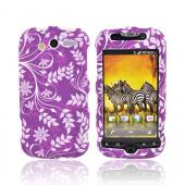 T-Mobile MyTouch 4G Rubberized Hard Case - Floral Design on Purple