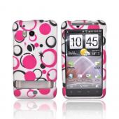 HTC Thunderbolt Rubberized Hard Case - Pink/Black Dots on Gray