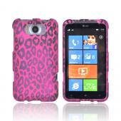 HTC Titan Rubberized Hard Case - Hot Pink/ Black Leopard