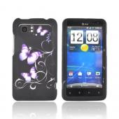 HTC Vivid Rubberized Hard Case - Purple Butterflies on Black