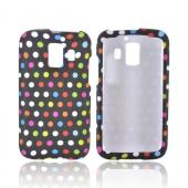 AT&T Fusion 2 U8665 Rubberized Hard Case - Rainbow Polka Dots on Black