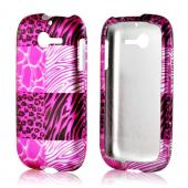 Pink Animal Print Rubberized Hard Case for Huawei Ascend Y