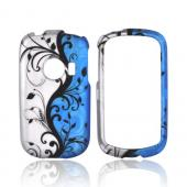 Huawei M835 Rubberized Hard Case - Black Vines on Blue/ Silver