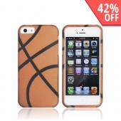 Apple iPhone 5/5S Rubberized Hard Case - Orange/ Black Basketball