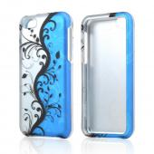 Black Vines on Silver/ Blue Rubberized Hard Case for Apple iPhone 5C
