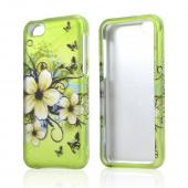 White Hawaiian Flowers on Green Rubberized Hard Case for Apple iPhone 5C