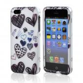 Black Heart Doodles on Silver Rubberized Hard Case for Apple iPhone 5/5S