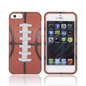 Apple iPhone 5/5S Rubberized Hard Case - Silver/ Brown Football