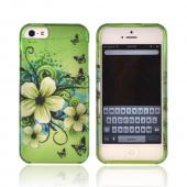 Apple iPhone 5/5S Rubberized Hard Case - White Hawaiian Flowers on Green