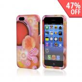 Candy & Flower Bliss on Pink Rubberized Hard Case for Apple iPhone 5/5S