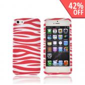 Apple iPhone 5/5S Rubberized Hard Case - Pink/ White Zebra