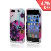 Purple Flower on Hot Pink/ Silver Rubberized Hard Case for Apple iPhone 5/5S