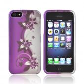 Apple iPhone 5/5S Rubberized Hard Case - Purple Flowers/ Vines on Silver