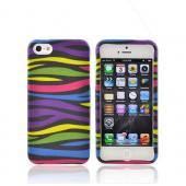 Apple iPhone 5/5S Rubberized Hard Case - Rainbow Zebra on Black
