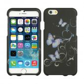 "Purple Flowers on Black Apple iPhone 6 (4.7"") Matte Rubberized Hard Case Cover; Perfect fit as Best Coolest Design Plastic cases"
