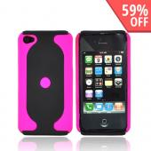 Apple Verizon/ AT&T iPhone 4, iPhone 4S Rubberized 2 Tone Hard Case - Hot Pink/Black