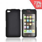Apple Verizon/ AT&T iPhone 4, iPhone 4S Rubberized Hard Case w/ Front Top Cover - Black