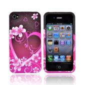 Apple Verizon/ AT&T iPhone 4, iPhone 4S Rubberized Hard Case - Hot Pink/Purple Flowers and Heart