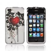 AT&T/ Verizon Apple iPhone 4, iPhone 4S Rubberized Hard Case - Red Heart/ Black Flowers on Gray