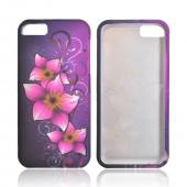 Apple iPhone 5/5S Rubberized Hard Case - Hot Pink Mystical Flower on Purple