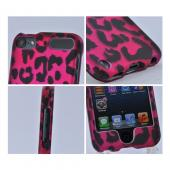 Apple iPod Touch 5 Rubberized Hard Case - Hot Pink/ Black Leopard