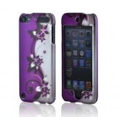 Apple iPod Touch 5 Rubberized Hard Case - Purple Flowers/ Vines on Silver