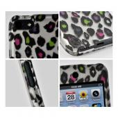 Rainbow Leopard on Silver Rubberized Hard Case for Apple iPod Touch 5
