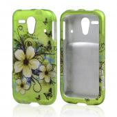 White Hawaiian Flowers on Green Rubberized Hard Case for Kyocera Hydro Edge
