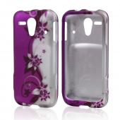 Purple Vines/ Flowers on Silver Rubberized Hard Case for Kyocera Hydro Edge