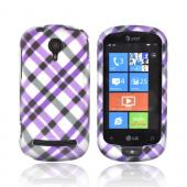 LG Quantum C900 Rubberized Hard Case - Checkered Design of Purple and Gray on Silver