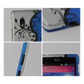 Black Vines on Silver/ Blue Rubberized Hard Case for LG Optimus G (AT&T)