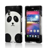 Black/ Silver Panda Rubberized Hard Case for LG Optimus G (AT&T)