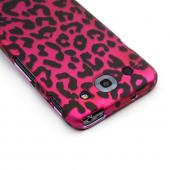 Black Leopard on Hot Pink Rubberized Hard Case for LG Optimus G Pro