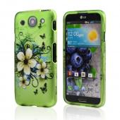 White Hawaiian Flowers on Green Rubberized Hard Case for LG Optimus G Pro