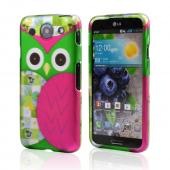 Hot Pink / Green Owl Rubberized Hard Case for LG Optimus G Pro