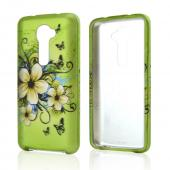 White Hawaiian Flowers on Green Rubberized Hard Case for LG G2 (Verizon Version)