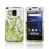 T-Mobile G2X Rubberized Hard Case - Green Vines & Flowers on Gray