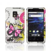 T-Mobile G2X Rubberized Hard Case - Hot Pink Butterflies on Silver