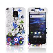 T-Mobile G2X Rubberized Hard Case - Rainbow Spring Flowers and Dots on White
