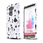 Black Cats on White LG G3 Matte Rubberized Hard Case Cover; Perfect fit as Best Coolest Design Plastic cases