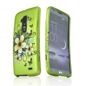 White Hawaiian Flowers on Green Rubberized Hard Case for LG G Flex