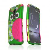 Hot Pink / Green Owl Rubberized Hard Case for LG G Flex