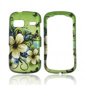 LG Rumor Reflex Rubberized Hard Case - White Hawaiian Flowers on Green