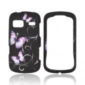 LG Rumor Reflex Rubberized Hard Case - Purple Butterflies on Black