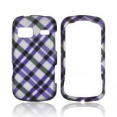 LG Rumor Reflex Rubberized Hard Case - Purple Plaid on Silver