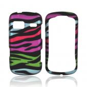 LG Rumor Reflex Rubberized Hard Case - Rainbow Zebra on Black