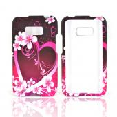 LG Optimus Elite Rubberized Hard Case - Pink Heart and Flowers on Black