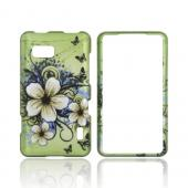 LG Mach  Rubberized Hard Case - White Hawaiian Flowers on Green